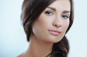 Beautiful healthy girl with clean pure skin and natural makeup