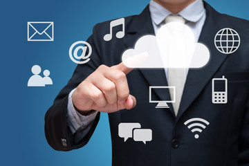 Businessman hand touch cloud computing network isolated