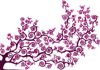 albero con rami curvi colore rosa