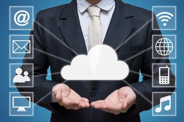 Businessman hand holding cloud computing network