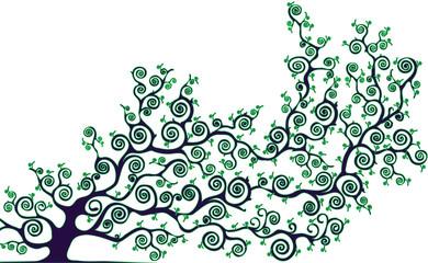 albero con rami curvi colore verde