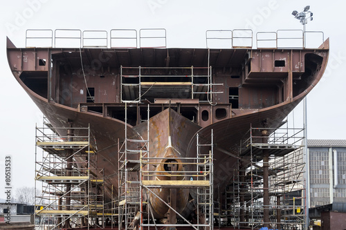 Building ship in a shipyard - 80513533