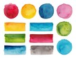 Set of colorful watercolor palettes