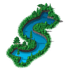 Waterhole dollar sign with trees and plants around
