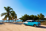 Old classic car on the beach of Cuba poster