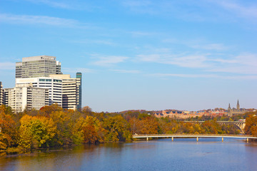 Autumn panorama of metropolitan Washington DC, USA.