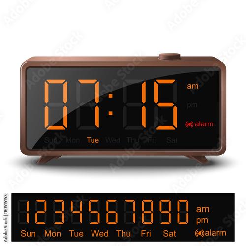 Retro style digital alarm clock with orange numbers - 80515153