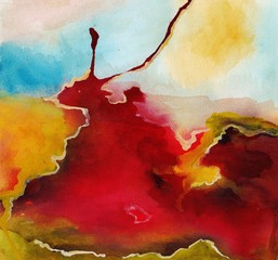 Abstract art. Watercolors on paper