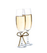 Two glasses with champagne .with a bow Isolated