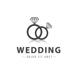 vector wedding rings logo