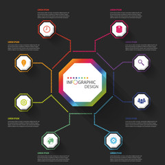 Modern business Infographics Octagon. Vector illustration