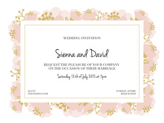 Wedding Invitation Card with pink flower frame. Vector design.
