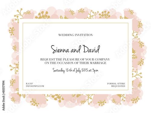 Wedding Invitation Card with pink flower frame. Vector design.