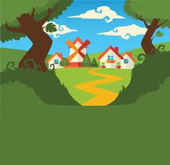 little cartoon village background