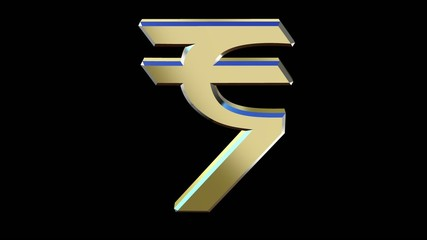rotating symbol currency of the Indian rupee