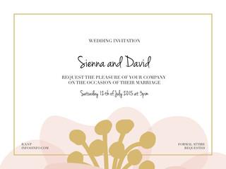 Wedding invitation card with one big flower. Vector design.