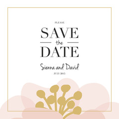 Save the date wedding card with on big flower. Vector design.