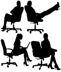 Business woman to sit in an office chair silhouette