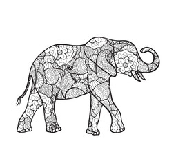 vector elephant silhouette with abstract pattern