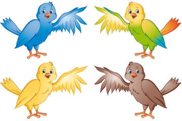 bunte Vögel Set Sammlung Kollektion