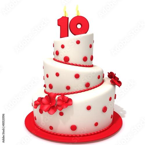 Papiers peints Dessert Birthday cake with number ten