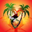 Leinwandbild Motiv Summer design with toucan and palm