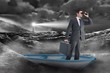 Composite image of businessman in boat with binoculars - 80521147
