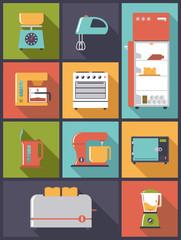 flat design illustration with kitchen appliances