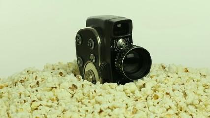 Retro camera and popcorn