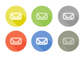 Collection of mail letter symbol rounded icon with shadow