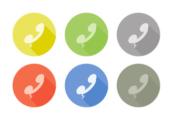 Collection of phone symbol rounded icon with shadow different