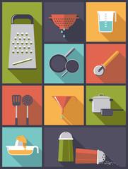 flat design illustration with cooking utensils
