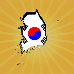 South Korea sunburst map with flag illustration