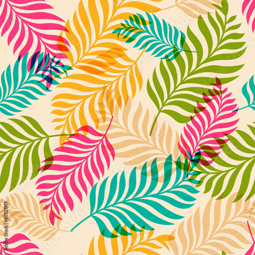 Obraz na Szkle Vector seamless pattern of colorful palm tree leaves. Nature org