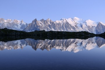 Mont Blanc or Monte Bianco from the Cheserys lake, France