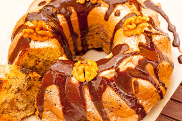 Gugelhupf marble Bundt cake with chocolate