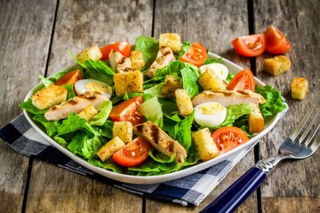Caesar salad croutons, quail eggs and cherry tomatoes