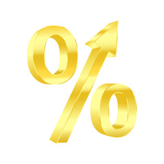 Growing percent symbol. Vector illustration