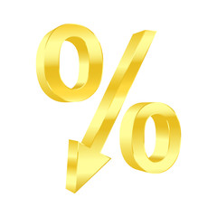 Dropping percent symbol. Vector illustration