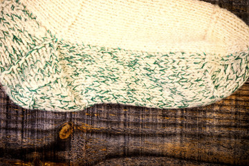 Closeup of traditional knitted sock