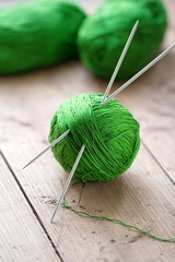 Clew of yarn with needles