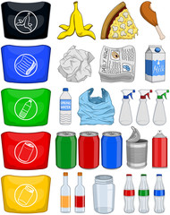 Food Bottles Cans Paper Trash Recycle Pack