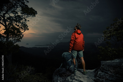 Hiker on the cliff - 80524785