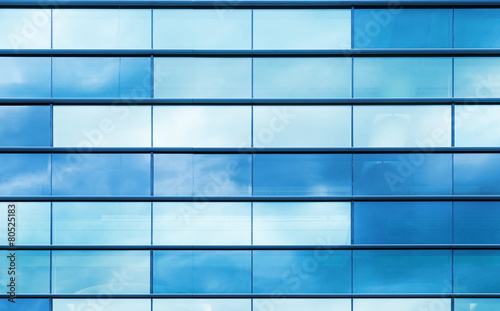Fotobehang Wand Blue glass and steel frame, background texture