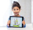 little girl showing castle on tablet pc screen
