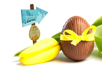 Composite image of easter egg hunt sign