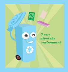 a vector cartoon representing a funny recycling bin