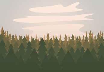 Green forest scene vector illustration
