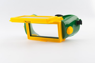 Welding mask on white background
