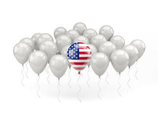 Air balloons with flag of united states of america